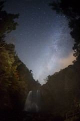 Milky Way waterfall (masahiro miyasaka) Tags: autumn tree japan night canon stars wonder star waterfall with competition fisheye galaxy astrophotography oneshot milkyway   earthandsky  sigma15mmf28exdgfisheye  eos5dmark