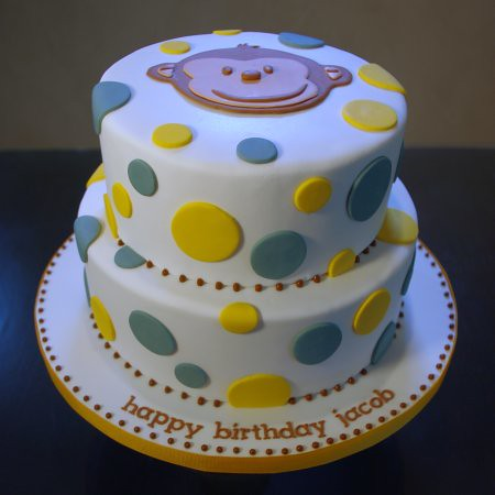 Mod Monkey & Polka Dot Birthday Cake