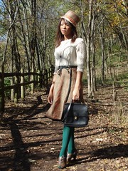 Radnor Lake Tennessee (vestedbeevintage) Tags: autumn sun green vintage coach check shoes nashville tennessee hats wrapped tights skirt purse 70s tweed radnorlake maxstudio