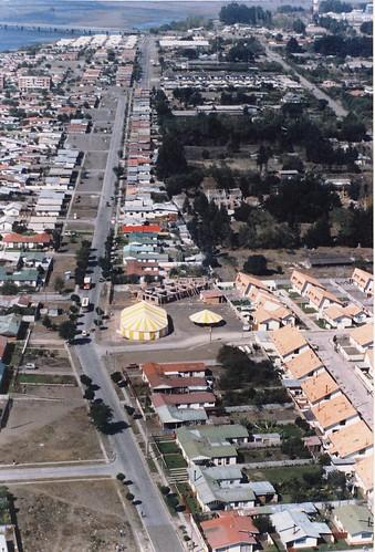 Aerial view of tent crusade