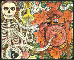 Time Passages (pageofbats) Tags: moleskine halloween illustration skeleton october memories psychedelic cuckooclock ouija