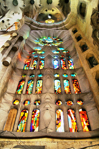 091121 Barcelona - Sagrada Familia - Stained Glass Window by dangerous_disco.