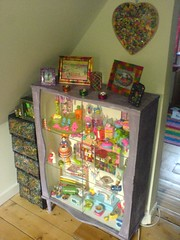 In the nook under the stairs (Rainbow Mermaid) Tags: color colour home toys display cabinet interior kitsch collection makeover colourful cupboard rainbowmermaid