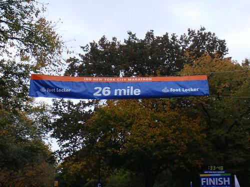 El objetivo final: cruzar la pancarta de las 26.2 millas
