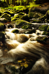 Running Water (Michelle in Ireland) Tags: longexposure brown white motion green nature water river rocks stream brack dublinmountains