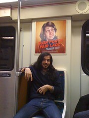 push forth, fair lady (jaqui rivera) Tags: train publictransportation mustache metrogoldline longhairguy