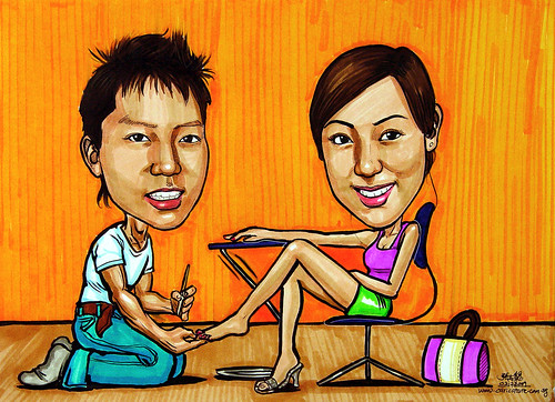 couple caricatures doing manicure pedicure