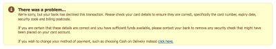 A rather wordy error message about a card being declined