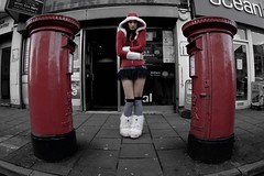 Chatterbox (Carly Wong) Tags: santa christmas uk two portrait white distortion snow cold silly colour sexy girl female photoshop self fun mouse boot weird outfit furry angle post box father wide fluffy patriotic skirt double fisheye saturation postbox hood royalmail middle alkaline 2009 tutu selective doubletrouble broadwalk knowle wellsroad tokina1017 alkalinemouse bs41128 bs41129