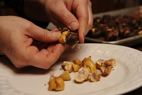 Peeling Roasted Chestnuts