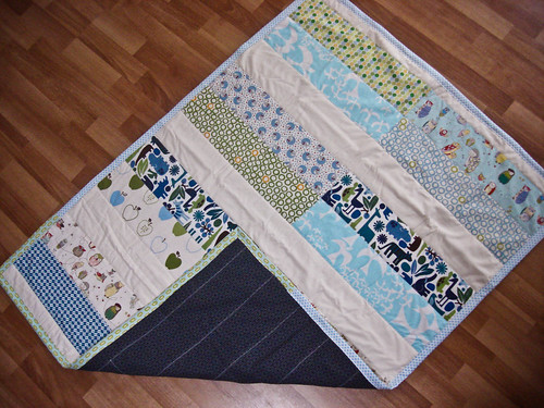 baby quilt :: blues and greens