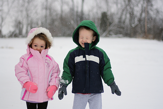 gage and morgan in the windy snow