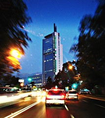 The Speed Of The City (La Vida Segun Seba) Tags: chile city santiago building cars speed dawn lights noche town interestingness movement downtown traffic edificio ciudad movimiento explore autos soir velocidad ctc santiagodechile telefnica plazaitalia