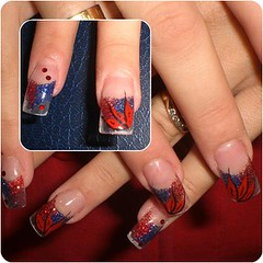 Uas decoradas (saludgl) Tags: blue red flower azul rojo hands flor manos nails gel fantasias fantasies uas decoracin transparentes transparents kylua uasdecoradas nailsfantasies uasgel haciendomanitas doinghandyman