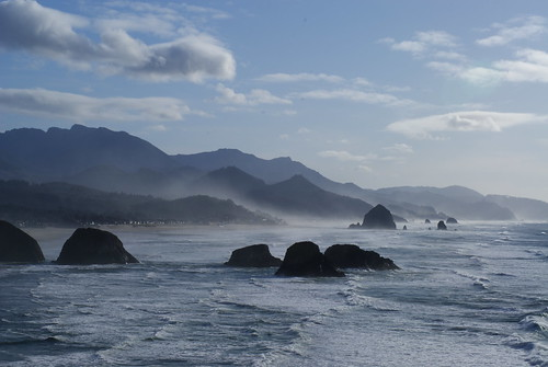 Haystack Rock and friends viewed from Ecola State Park