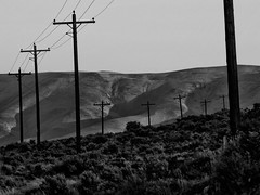 Eastern Washington (wildestseas) Tags: powerlines washingtonstate wanapum olympuse500 columbiavalley columbiarivervalley desertpowerlines zuiko70300mmf456