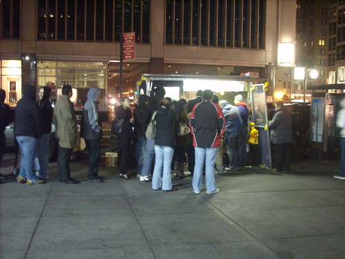 Line around Halal Cart at 53rd and 6th
