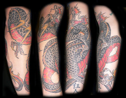 japanese dragons tattoos. Black and red japanese dragon