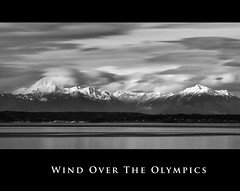 Windy Winter Afternoon (Jeff Engelhardt) Tags: winter light cliff sun white snow storm mountains water rock clouds bay long exposure wind peak pugetsound olympic range