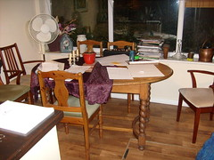 Light oak dining table and four chairs (muralist1) Tags: furniture badgers copse