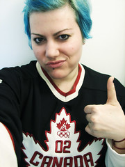 Day 347 / 365 (Giusi-gurL) Tags: 365days team canada 2010 olympics vancouver hockey jersey canadian girl 2002 roots mapleleaf thumbsup bluehair cheer fan salute winners champions