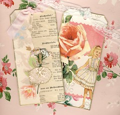 Floral Tags with Vintage Wallpaper (bleintz) Tags: wallpaper floral vintage mixedmedia