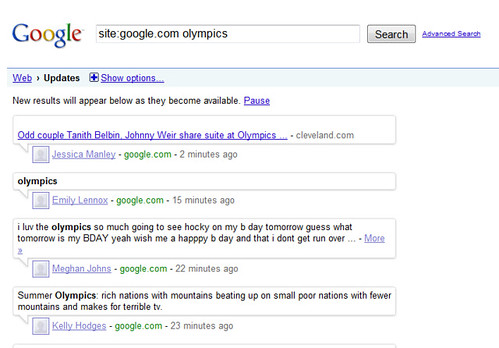Google Real Time Search: Buzz & Olympics
