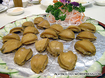 Whole pieces of abalone