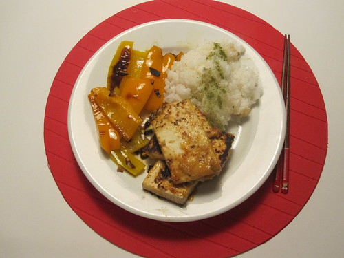 Miso-ginger tofu, garlic peppers, rice with matcha salt