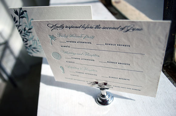Beach Wedding Letterpress Invitations by Smock