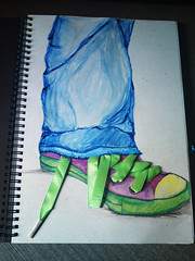 shoe (Art Fountain) Tags: people fashion pencil drawings sketches coloured dollies doodling shading