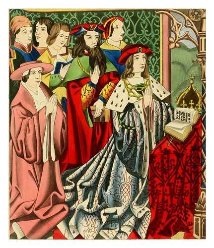 018-Henry VI y su corte mitad siglo XV-Dresses and decorations of the Middle Ages 1843- Henry Shaw