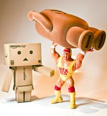 Danbo got a little help with Domo (Grant_R) Tags: toys domo wrestler hulkhogan domokun figures japanesetoys danbo revoltech danboard grantr