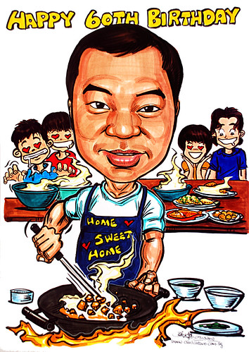 Caricature of Dad who loves food and cooking