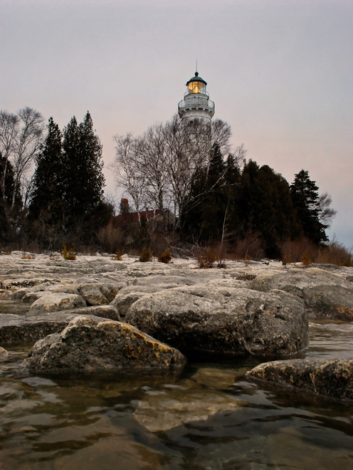 Cana Island Lighthouse at dusk