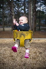 Clap if you enjoy a good swing... (crashmattb) Tags: baby girl smiling playground photoshop georgia outside march toddler afternoon daughter swing abigail marietta clapping 2010 laurelpark cs3 canoneosdigitalrebelxti sigma1770mmf2845dc abigailjaclyn