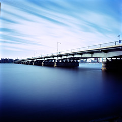 Bridge I::In Blue (Dr. RawheaD) Tags: long exposure fuji f45 hasselblad harvardbridge hoya astia 100f 38mm biogon nd400 superwidec