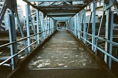 bridge across railroad (oceanus2007 (***busy***)) Tags: canon kodak iso400 cosina voigtlander 28mm portra400nc yokohama f35 colorskopar ivsb