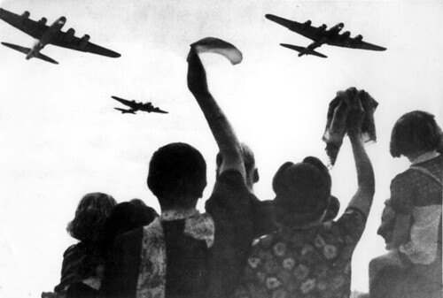 World War II. Liberation of Holland. Dutch people waving at allied planes, The Netherlands, location