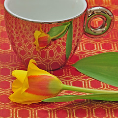 Coffee & Tulips (njk1951) Tags: red coffee yellow reflections tulips favoritethings anytime mywinners mirrorfinishcoffeecup