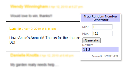 Winner of a $50 gift certificate to Annie's Annuals