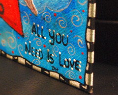 5x7 CANVAS - ALL YOU NEED IS LOVE (Red Heart Studio) Tags: art handmade paint canvas mixed media collage colors allyouneedislove heart red wings sky clouds black white blue 5x7 mixedmediaink pen gel marker