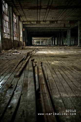 abandoned factory wood floor