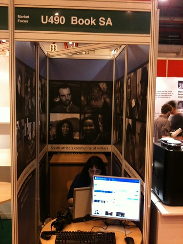 LIVE from the #lbf10 - a snap of the BOOK SA stand w/Arja Salafranca  busy liveblogging inside