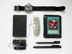 EDC Pocket Dump 04/21/10 (branespload) Tags: moleskine keychain watch knife flashlight edc seiko everydaycarry spyderco victorinox leafstorm
