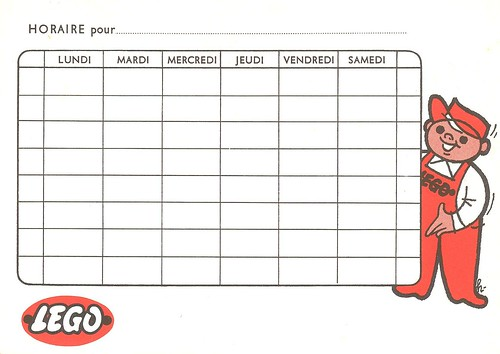 Lego 1960's school schedule card (verso)