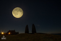 Snow Moon Rising (Explored) (Impact Imagz) Tags: aignish isleoflewis point nightsky nightphotography nightskies stonebuilt moonlight moon fullmoon snowmoon explored exploredonflickr