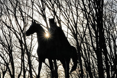 Shining Through (Jen_Vee) Tags: wayne statue park valleyforge general historic monument trees sunlight silhouette horse