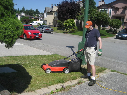 Jon mowing the lawn