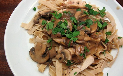 Sliced Chicken with Chunky Mushroom Gravy